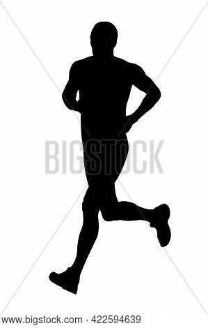 Male Runner Athlete Run Marathon Black Silhouette