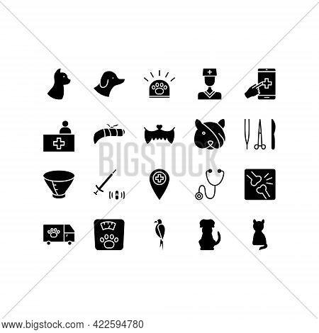 Veterinary Clinic Flat Line Icons Set. Stethoscope, Xray, Broken Leg, Protective Collar, Injection,