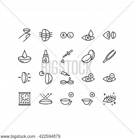 Contact Lens Flat Line Icons Set. Ophthalmology, Lens Care, Eye Anatomy, Contact Lenses, Medical Too