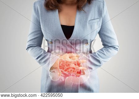 Illustration Of Large Intestine Is On The Woman's Body. Business Woman Touching Belly Painful Suffer