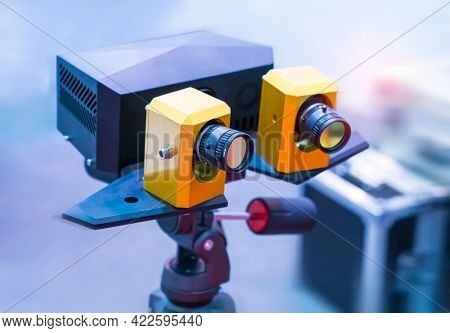 smart robot in manufacturing industry for industry 4.0 and technology concept. Robotic vision sensor camera system in intellegence factory