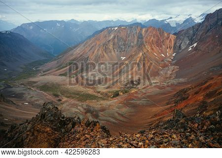 Excellent View From Big Pointy Rocks To Motley Mountain Valley. Scenic Mountain Landscape With Multi