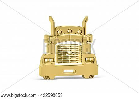 Golden 3d Lorry Icon Isolated On White Background - 3d Render