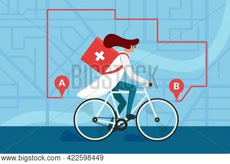 Medicine Pharmacy Delivery. Woman Doctor Riding Bicycle With Medical Surgical Sanitary Box First Aid