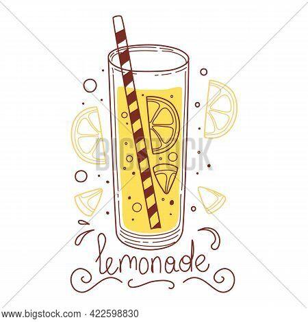 Yellow Lemonade Detox Drink, Fruit Smoothie, Organic Lemonades In Glass Bottle, Jar And Jugs With St
