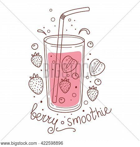 Summer Berry Detox Drink, Fruit Smoothies, Organic Lemonade In Glass Bottle, Jar And Jugs With Straw