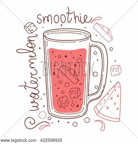 Summer Watermelon Detox Drink, Fruit Smoothies, Organic Lemonade In Glass Bottle, Jar And Jugs With