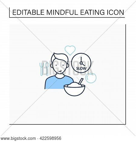 Mindful Eating Line Icon. Eating Slowly. Savoring Every Bite.enjoy Meal. Conscious Nutrition. Health