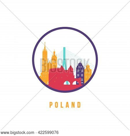 Famous Poland Landmarks Silhouette. Colorful Poland Skyline Round Icon. Vector Template For Postmark