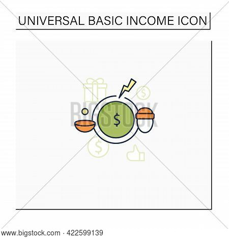 Breaking Poverty Cycle Color Icon. Unemployment Benefit. State Assistance.universal Basic Income Con