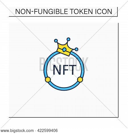 Nft Color Icon. Non Fungible Token. Unique Digital Assets. Assets Exist In Their Own Cryptosystems.