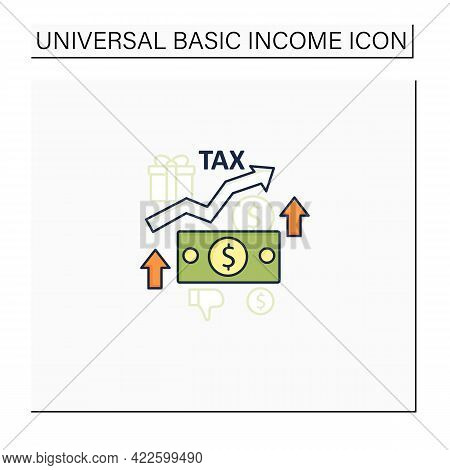 Higher Taxes Color Icon. Higher Percentage. Tax Fee Growth.universal Basic Income Concept. Isolated