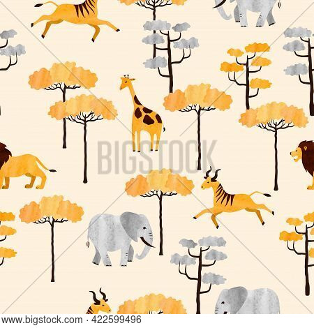 Seamless African Animals Pattern. Vector Illustration Of Savanna With Antelopes, Giraffes, Lions And