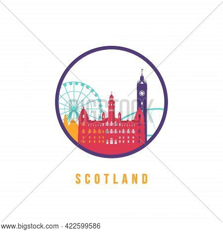 Famous Scotland Landmarks Silhouette. Colorful Scotland Skyline Round Icon. Vector Template For Post
