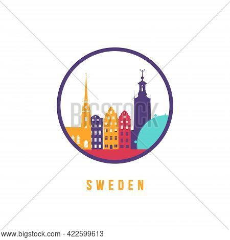 Famous Sweden Landmarks Silhouette. Colorful Sweden Skyline Round Icon. Vector Template For Postmark