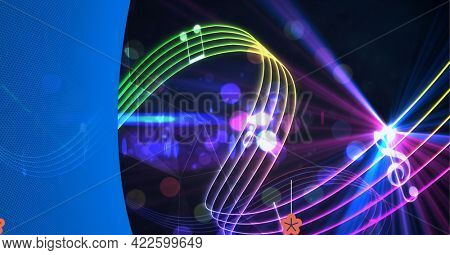 Composition of blue curve, with bending rainbow coloured music stave and notes over lights on black. audio sound visualisation concept digitally generated image.