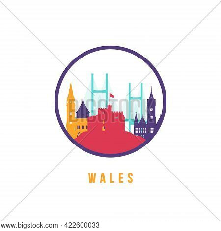 Famous Wales Landmarks Silhouette. Colorful Wales Skyline Round Icon. Vector Template For Postmark,