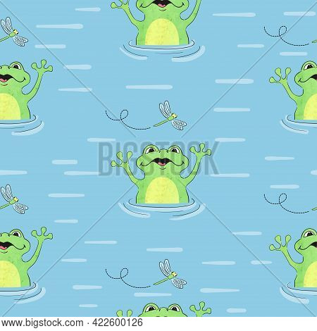 Cartoon Frog Pattern. Seamless Vector Background With Frogs And Dragonflies.