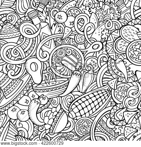 Mexican Food Hand Drawn Doodles Seamless Pattern. Ethnic Cuisine Background. Cartoon Ethnicity Fabri