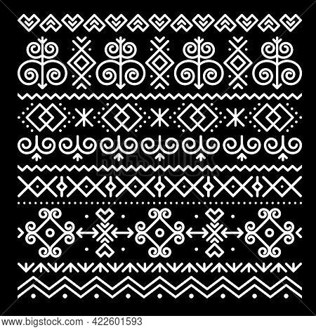 Slovak Folk Art Vector Greeting Card Square Pattern With Abstract Geometric Shapes Inspired By Tradi