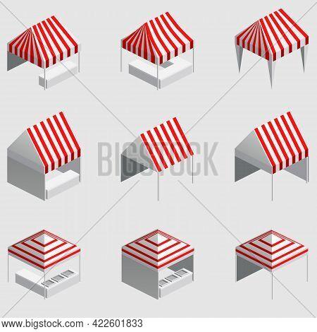 Set Isometric Market Stall, Tent. Street Awning Canopy Kiosk, Counter, White Red Strings For Fair, S