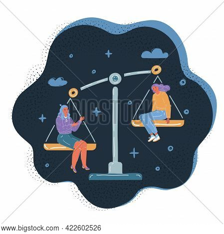 Vector Illustration Of People Equality Concept. Balance Symbol. Job, Envious, Jealousy, Low Self-est