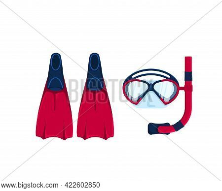 Mask, Snorkel, And Fins For Snorkeling, Freediving, And Scuba Diving On Isolated White Background. C