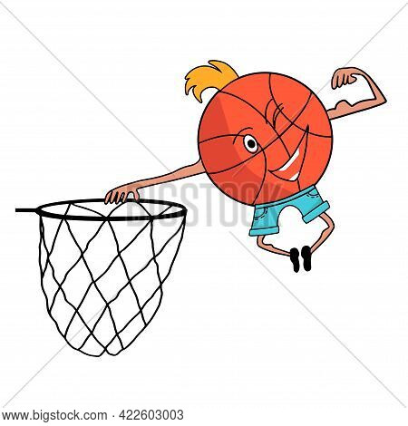Cartoon Happy Funny Crazy Ball Flying To Ring Hoop, Smiles And Winks, Shows Strength. Design Illustr