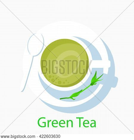 Green Tea Dish, Vector Art Illustration Antioxidant.