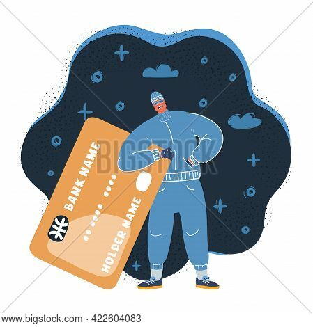 Vector Illustration Of Thief To Steal Your Credit Card Information