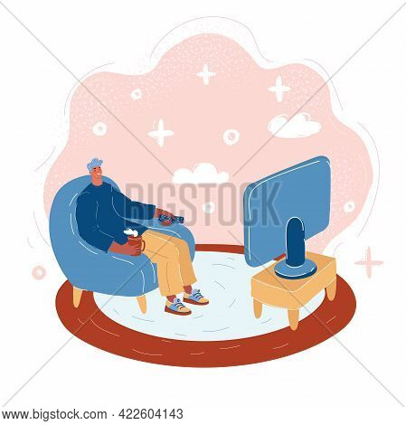 Vector Illustration Of The Man In An Armchair Watches Tv