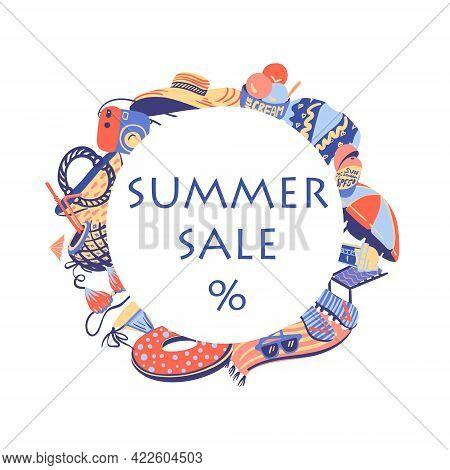 Vector Summertime Handdrawn Summer Sale Banner. Hand Drawn Vibrant Beach Related Objects White Backg