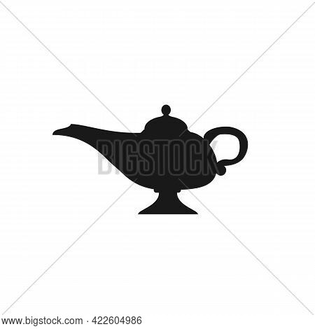 Magic Lamp Silhouette Isolated On White Background. Aladin Lamp Icon. Vector Stock