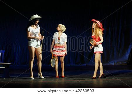 MOSCOW - JANUARY 27: Actresses Polina Rostova, Anastasia Makeeva, Olga Vorozhtsova play at Musical Witches of Eastwick in Palace on Yauza on January 27, 2012 in Moscow, Russia.