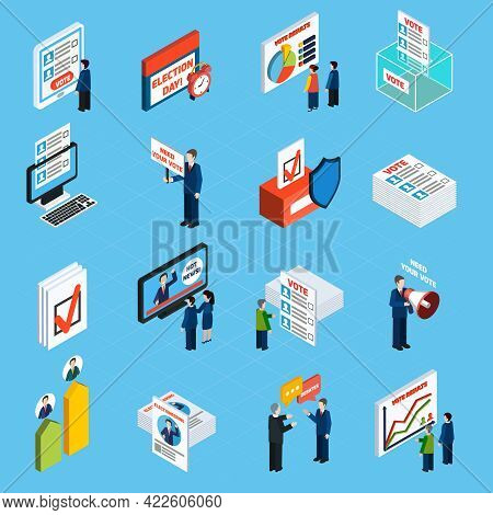 Election Campaign And Voting Isometric Icons Set With Ballot Box Voter List And People Making Agitat