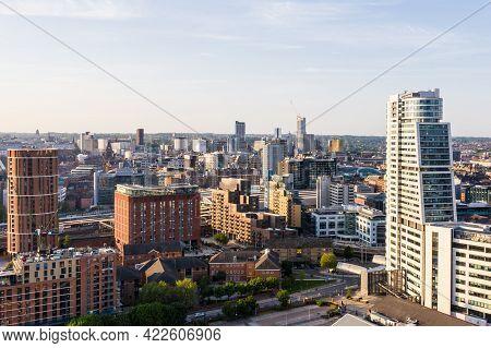 Leeds, Uk - June 2, 2021.  Aerial View Of Leeds City Centre Skyline At Sunset