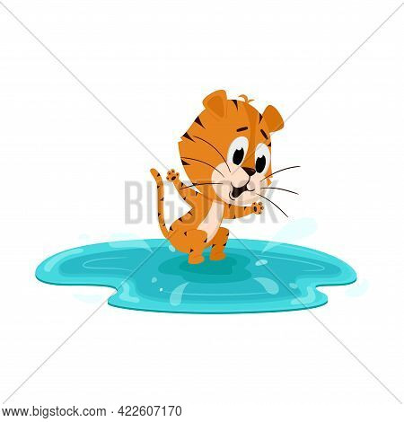 Tiger Jumps In A Puddle, Swims In The Lake. Cute Cartoon Character. The Tiger Is The Symbol Of The Y