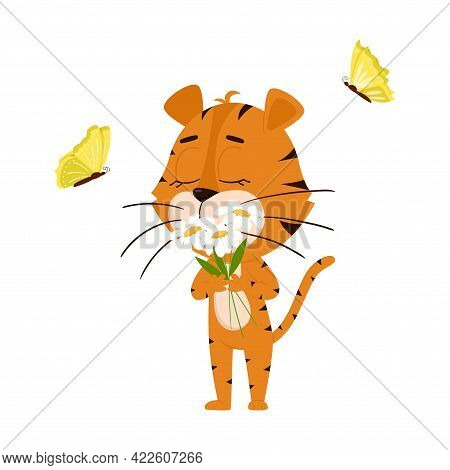 Tiger Sniffs Daisies, Butterflies Fly Cute Cartoon Character. The Tiger Is The Symbol Of The Year 20