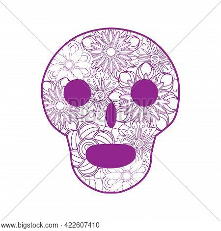 Mexican Sugar Skull With Flowers For Day Of The Dead Skull. Illustration Of Tribes. Outline For Colo