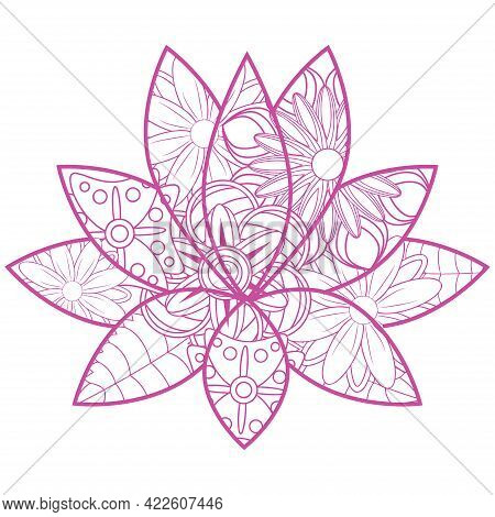 Lotus Flower Silhouette. Water Lily. Oriental Indian, Chinese Style. Zentangle Element Design For Sp