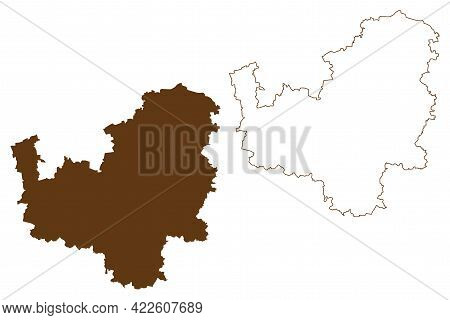 Leipzig District (federal Republic Of Germany, Rural District Swabia, Free State Of Saxony) Map Vect