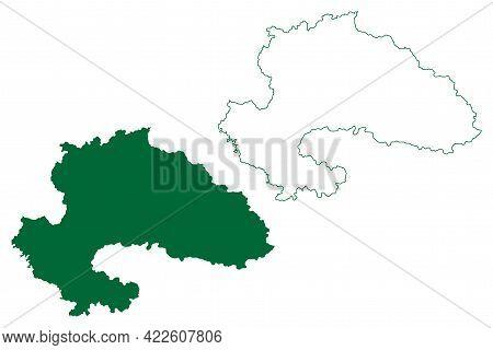 Yavatmal District (maharashtra State, Amravati Division, Republic Of India) Map Vector Illustration,
