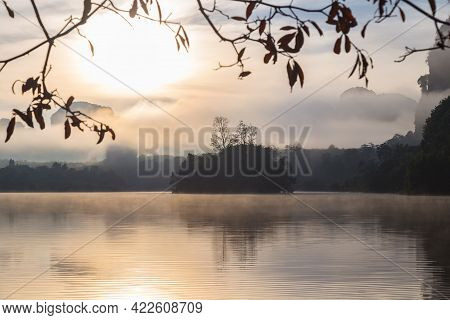 Ban Nong Thale The Natural Scenery Of The Sunshine In The Morning (mountains, Lakes, Trees, Fog) At
