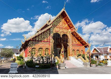 Wat Jet Yot In The City Of Chiang Rai In North Thailand.