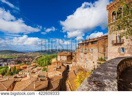View Of Perugia Medieval Historic Center With Ancient Eburnea Gate And Umbria Countryside From City