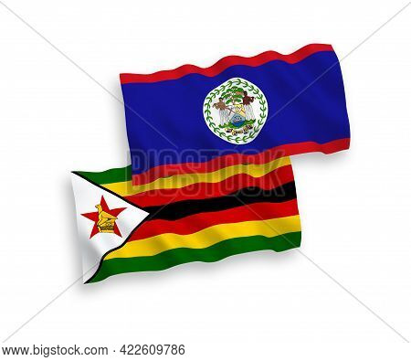 National Fabric Wave Flags Of Belize And Zimbabwe Isolated On White Background. 1 To 2 Proportion.