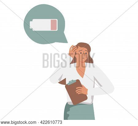 Tired Woman Sitting And Hugging Her Knees With A Discharged Battery In The Thoughts. Fatigued Female