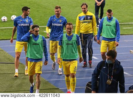Kyiv, Ukraine - October 13, 2020: Players Of Ukraine National Team Go From The Pitch After Training