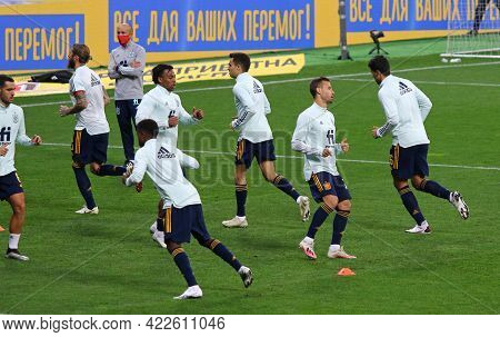 Kyiv, Ukraine - October 13, 2020: Players Of Spain National Team Run During Training Session Before