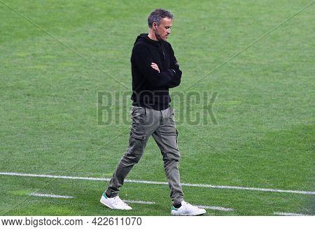 Kyiv, Ukraine - October 13, 2020: Head Coach Luis Enrique Walks On During Training Session Of Spain